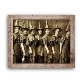 Printable Halloween coven – Victorian witches vintage photo poster - vintage print poster
