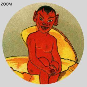 Printable Devil sitting on the carved pumpkin – vintage Halloween card - vintage print poster