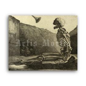 Printable Skeleton awakening - antique engraving by Jacques Gamelin - vintage print poster