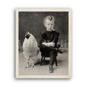 Printable Little boy smoking cigarette with a chicken - vintage photo - vintage print poster