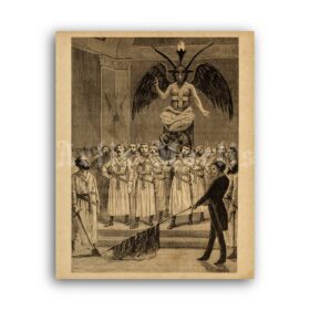 Printable Masonry ritual - Baphomet, Satan, mysteries, initiation poster - vintage print poster