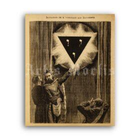 Printable Masonic lodge - Freemasonry, freemason mysteries, masonic art - vintage print poster