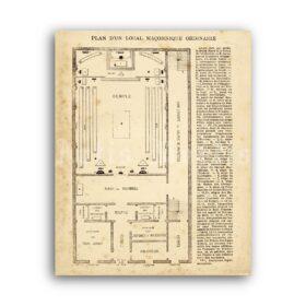 Printable Masonic temple plan - Freemasonry, lodge, templar, illuminati - vintage print poster