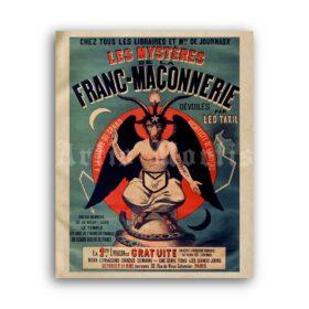 Printable Mysteries of Freemasonry poster - Baphomet, Satan, Masonic art - vintage print poster