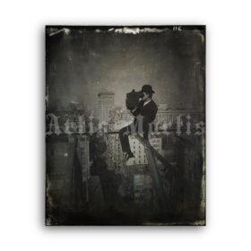 Printable Photographer with camera over the city - vintage photo - vintage print poster