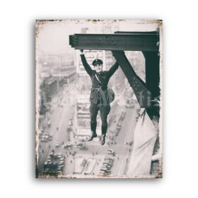 Printable Policeman hanging from a beam - vintage photo, retro extreme - vintage print poster
