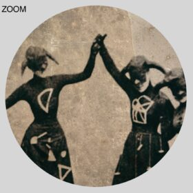 Printable Witches dancing in weird costumes with math symbols - old photo - vintage print poster