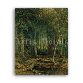 Printable Forest wilderness - landscape painting by Ivan Shishkin - vintage print poster