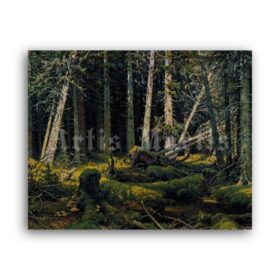 Printable Forest wind-fallen trees - landscape painting by Ivan Shishkin - vintage print poster