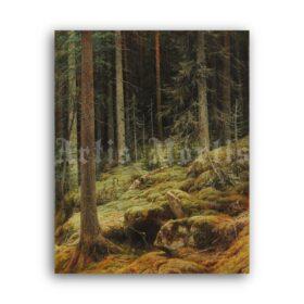Printable Wilds - landscape painting by Ivan Shishkin - vintage print poster