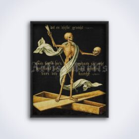 Printable Skeleton on a coffin holding a skull and an arch - medieval art - vintage print poster