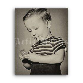Printable Smoking boy, little smoker - vintage humour photo print - vintage print poster