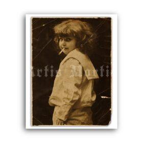 Printable Little girl smoking cigarette - vintage photo, retro postcard - vintage print poster