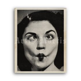 Printable Grimacing woman, weird face photo - vintage print, poster - vintage print poster