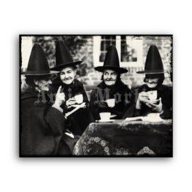 Printable Witches tea party – antique photo, retro Halloween decor - vintage print poster
