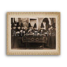 Printable Witches tea time – antique photo, retro Halloween decor - vintage print poster