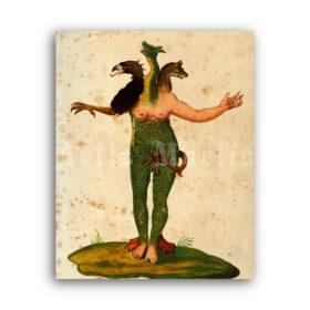 Printable Three-headed monster - medieval bestiary art, Ulisse Aldrovandi - vintage print poster