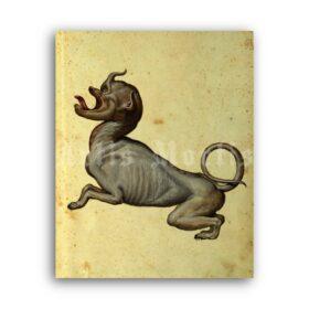 Printable Freaky dog, monster - medieval bestiary art, Ulisse Aldrovandi - vintage print poster