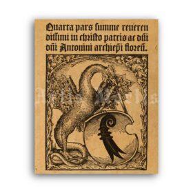 Printable Basilisk of Basel - medieval bestiary art, rooster dragon print - vintage print poster