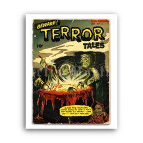 Printable Beware Horror Tales - vintage horror pulp magazine cover art - vintage print poster