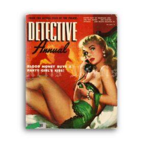 Printable Detective Annual 1951 crime magazine cover, pulp art print - vintage print poster