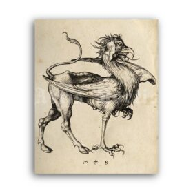 Printable Griffin - medieval bestiary art, fantasy, monster, beast print - vintage print poster