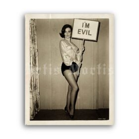 Printable Shelley Fabares with I'm Evil sign 1965 photo, feminist art - vintage print poster