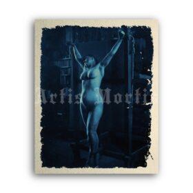 Printable Crucified woman - 1890s antique bondage, BDSM cyanotype - vintage print poster
