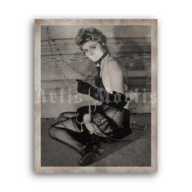 Printable Girl on the chain - vintage fetish BDSM photo by John Willie - vintage print poster