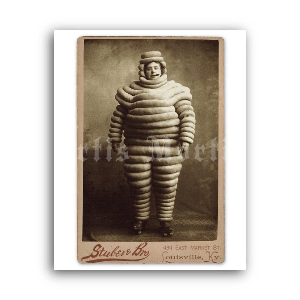 Printable Weird Michelin Man costume vintage cabinet card photo print - vintage print poster