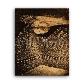 Printable Wall of skulls in Paris Catacombs photo by Nadar - vintage print poster