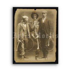 Printable Human skeleton with two men vintage photo poster - vintage print poster