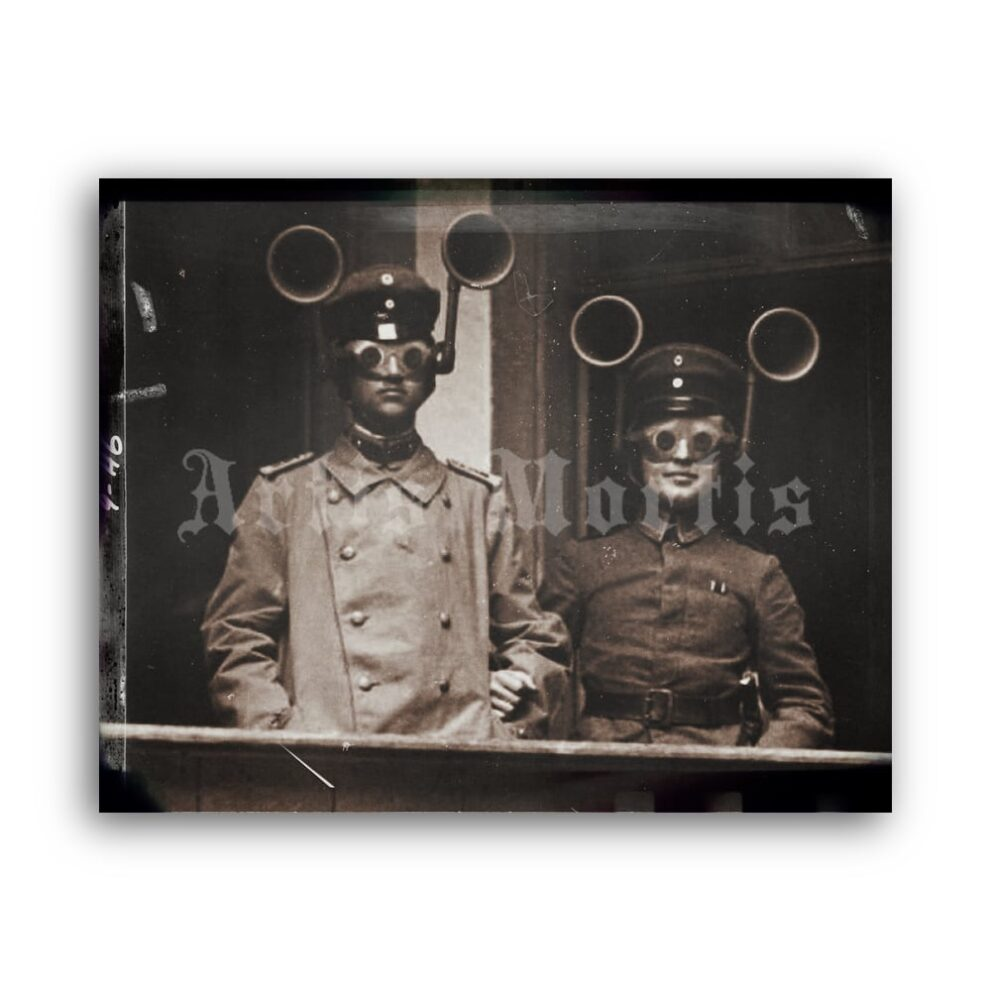 Printable Military sound locators vintage WWI era photo poster - vintage print poster