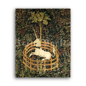 Printable The Unicorn - medieval tapestry art, fantasy, legend, mythology - vintage print poster