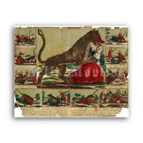 Printable Beast of Gevaudan, Wolf of Chazes, Werewolf antique broadside - vintage print poster